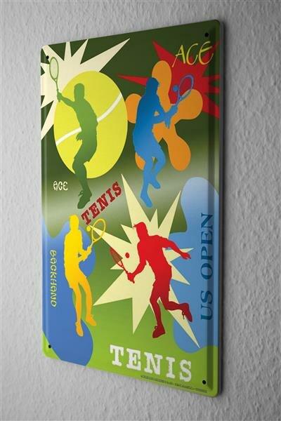 Blechschild Fun Wand Deko Schild Tennis US Open 20X30 cm