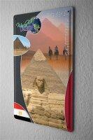 Blechschild Abenteurer Wand Deko Weltwunder Sphinx Pyramide Metallschild 20X30 cm