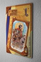 Blechschild USA Ureinwohner Western Abenteuer Kutsche Metall Deko Wand Schild 20X30 cm