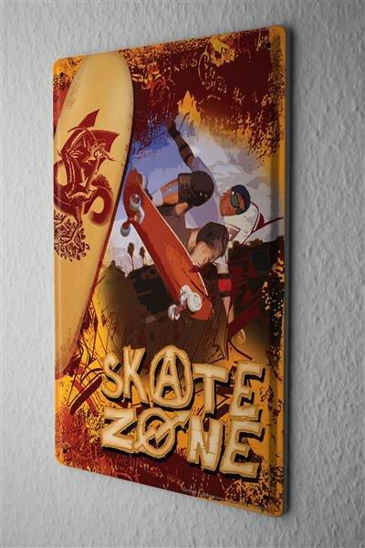 """Fun Tin Sign Wall Decor Plate Skateboard zone Metal Wall Plate 8X12"""""""