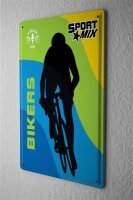 Blechschild Retro Deko Fahrradfahrer Silhouette Metallschild 20X30 cm