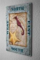 "Tin Sign Compass seahorse starfish Metal Plate 8X12"""