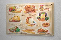 Tin Sign Food Restaurant Decoration France cheese bread...