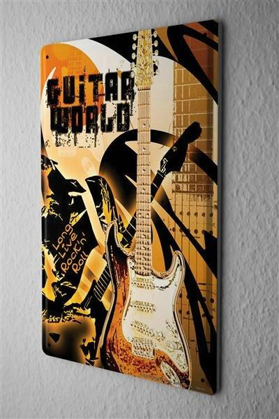 Blechschild Retro Motiv Gitarre Rock n Roll Metallschild 20X30 cm
