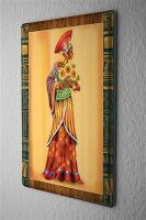 Tin Sign Kitchen Wall Decor Africa gown flowers 8X12""