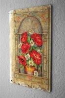 Blechschild Pflanzen Deko Blumenvase Mohn Metall Wand...