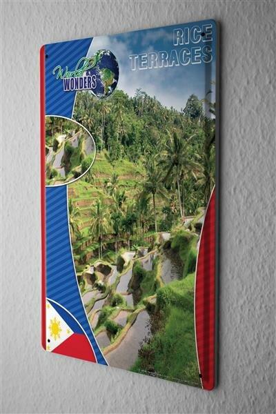 Blechschild Welt Reise Weltwunder Reis Terrasse Wand Deko Schild 20X30 cm