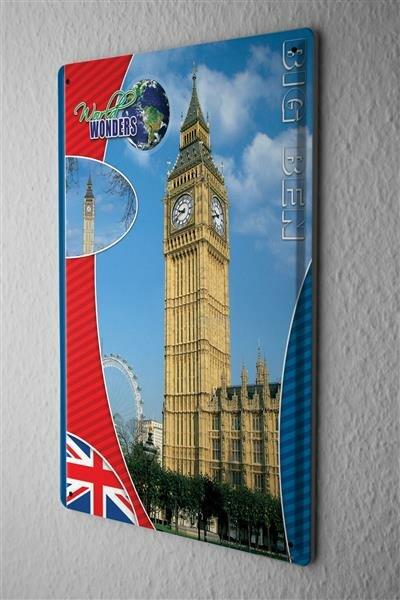 Blechschild Weltenbummler Weltwunder Big Ben Metallschild 20X30 cm