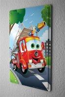 """Tin Sign Cartoon Art Fun fire truck Metal Plate 8X12"""""""