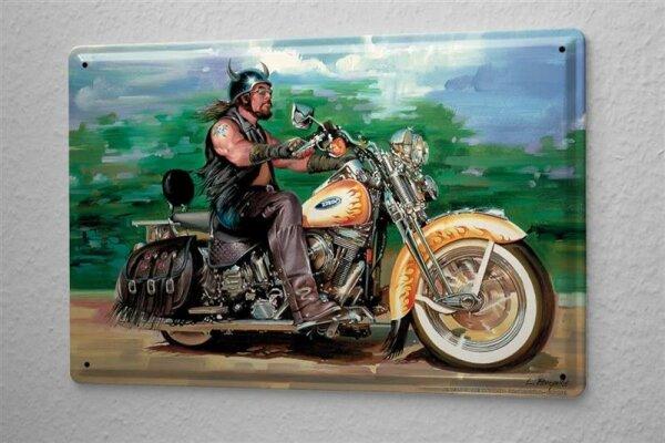 Blechschild Motorrad Garage  Biker Flammen Hörner Wand Deko Schild 20X30 cm