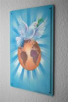 Blechschild Friedenstaube Globus Weltfrieden Metall Deko...