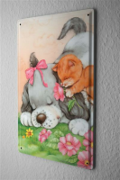 Blechschild Cartoon Fun Deko Hundedame Katzenwelpe...