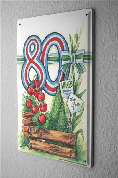 Blechschild Glückwunschkarte Metallschild Geburtstagskarte 80 20X30 cm