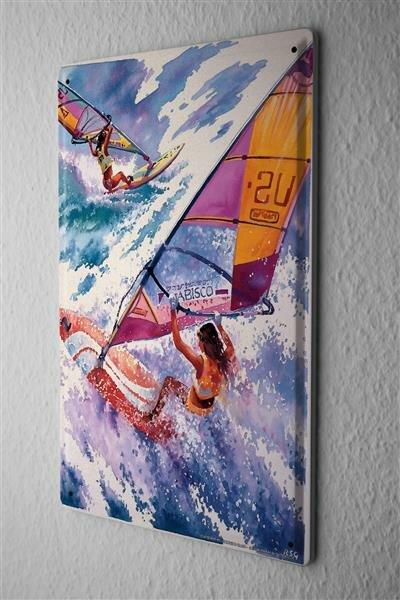 Blechschild Sport Windsurfen Wellen Deko Wand Schild 20X30 cm