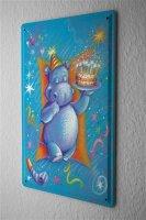 Blechschild Jubiläum Party Fun Deko Geburtstag Nilpferd Karte Metall Schild 20X30 cm