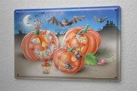 Tin Sign Cartoon Art Fun Halloween pumpkin bat mice Metal...