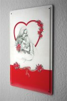 Tin Sign Kitchen Wall Decor Love Couple of roses heart...