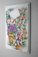 Tin Sign Plants Decoration Flowers lavender pansies...