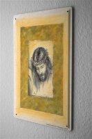 Blechschild Kirche Jesus Bleistift Zeichnung Metall Wand Deko Schild 20X30 cm