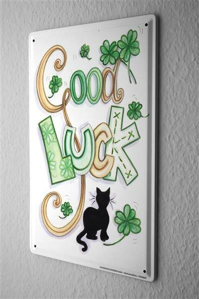 Blechschild Viel Glück Good Luck Karte Metall Deko Schild 20X30 cm