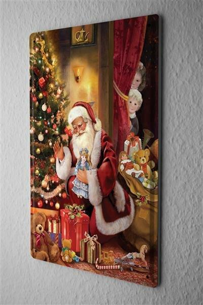 Blechschild Nostalgie Weihnacht Schmuck Weihnachtsmann Puppe Geschenke Metallschild 20X30 cm