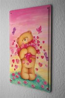 Tin Sign Cartoon Art Fun Teddy bear heart butterfly Metal...