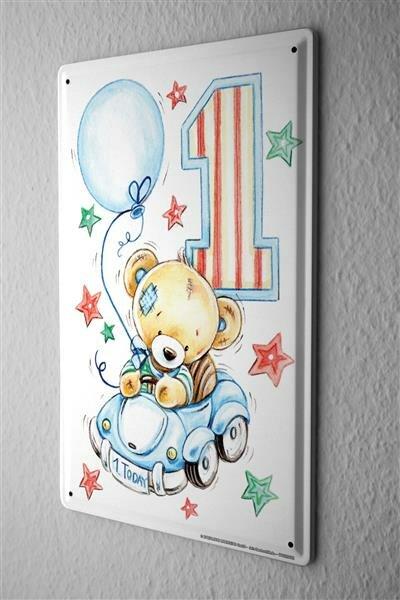 Blechschild Geburtstag Glückwünsche Erster Geburtstag Karte Bär Deko Wand Schild 20X30 cm