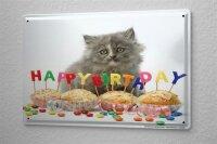 Tin Sign Birthday Congratulations Cats Puppy Happy...