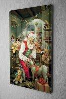 Blechschild Weihnachten Deko Weihnachtsmann Werkstatt Schaukelpferd Metallschild 20X30 cm