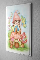Tin Sign Cartoon Art Fun Gnome Mushroom Butterfly Metal...