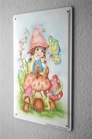 Blechschild Cartoon Fun Deko Gnom Pilz Schmetterling...
