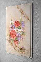 Blechschild Pflanzen Deko Blumenstrauß Rosen...