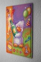 Tin Sign Fun Birthday Card Shield Duck champagne...
