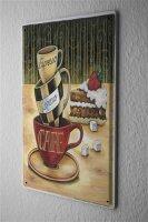 Blechschild Fun Küchen Deko Kaffee Espresso Cappuccino  Metallschild 20X30 cm