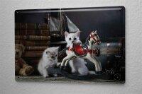 "Tin Sign Breed Puppy Kitten Rocking Horse 8X12"""