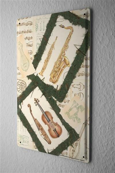 Blechschild Violine Saxophon  Metall Deko Schild 20X30 cm