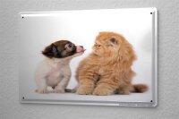 Blechschild Tierarzt Praxis Deko Hundewelpe Zunge kleine Katze Metallschild 20X30 cm