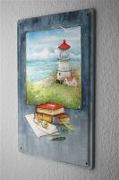 Blechschild Welt Reise Leuchtturm Meer Nordsee Wand Deko Schild 20X30 cm
