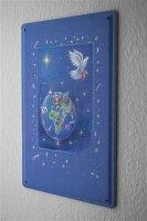 Blechschild Friedenstaube Globus Weihnachtsmann Metall...