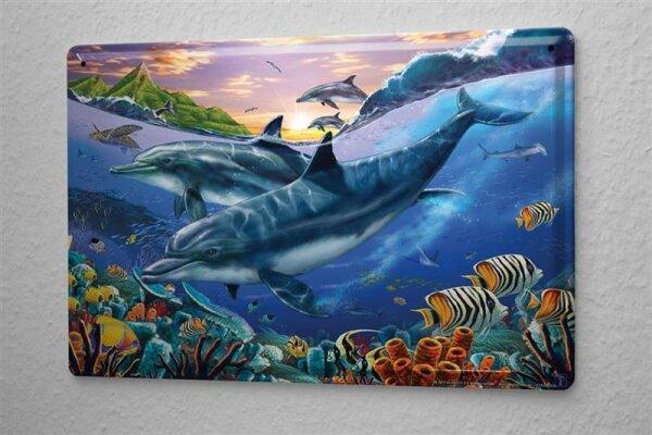 Blechschild Deko Kinderzimmer Delfin Schildkröte Meerestiere Metallschild 20X30 cm