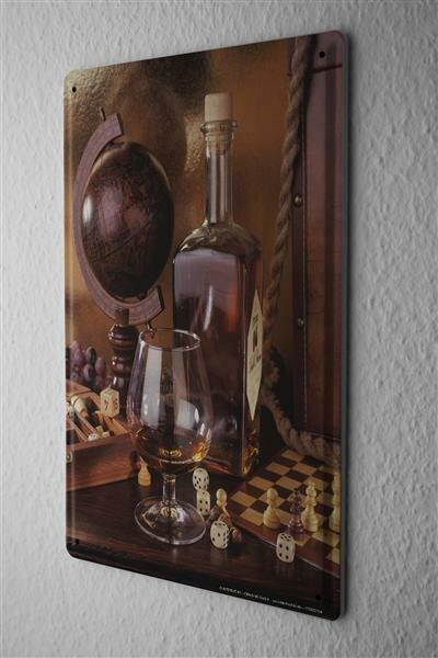 Blechschild Bar Party Wand Deko Whiskey Schachbrett Metallschild 20X30 cm