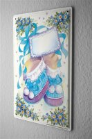 Tin Sign Birthday Congratulations Card Bow Kids Shoes...