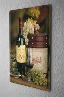 Tin Sign 20X30 cm Wine glass bottle wine grapes Bar Pub...