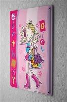 Tin Sign Fun Birthday Card Shield comic Girl Metal...