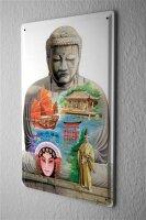Tin Sign Asian Art Temple Sailboat Japan China Wall...