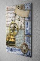 Maritime Decoration Tin Sign Sextant Sailboat Compass...