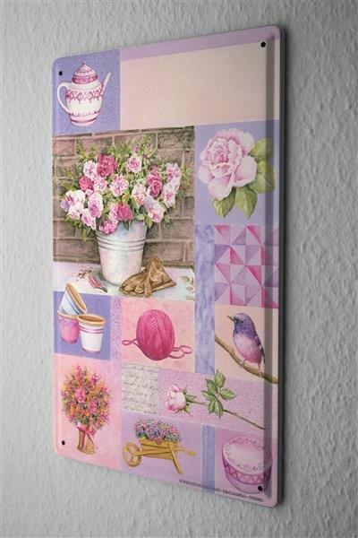 Blechschild Pflanzen Deko rosa Rosen Teekanne Vogel Metall Wand Schild 20X30 cm