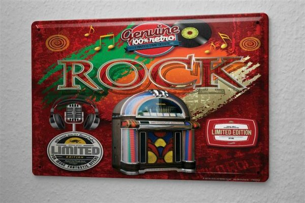 Blechschild Jukebox Schallplatte Rock Metall Deko Schild 20X30 cm
