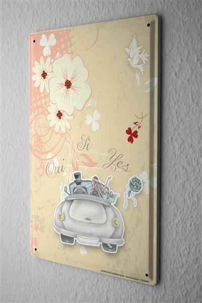 Blechschild Jubiläum Party Fun Deko Hochzeit frisch verheiratet Brautstrauß Metall Schild 20X30 cm