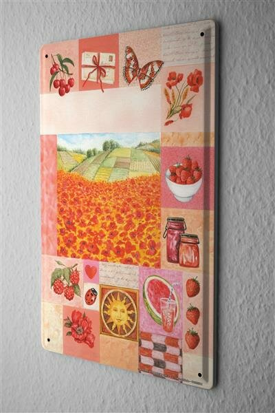 Blechschild Pflanzen Deko Mohnfeld Kirschen Himbeere Metall Wand Schild 20X30 cm